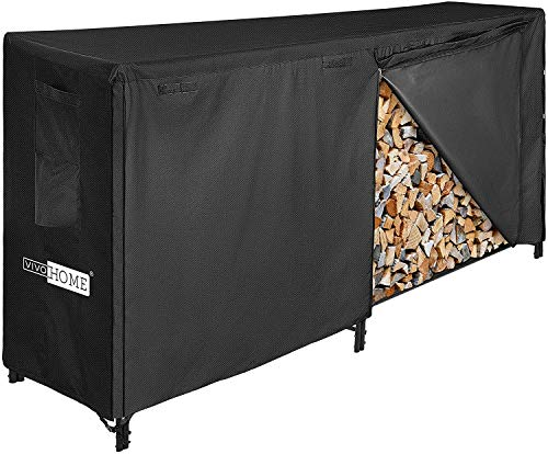 VIVOHOME 8ft Heavy Duty Indoor Outdoor Firewood Storage Log Rack with Cover Combo Set Black