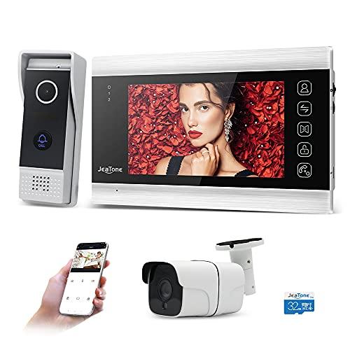 JeaTone Videoportero inalámbrico de 7 pulgadas, monitor WiFi 960P con timbre de puerta con cable, tarjeta SD de 32 G, cámara CCTV de 720 P, grabación automática o vídeo con detección de movimiento