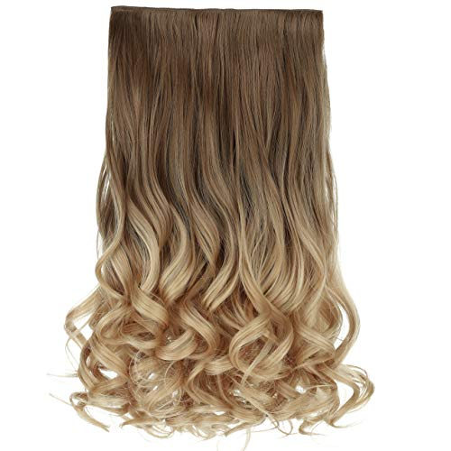 REECHO 20' 1-pack 3/4 Ombre Full Head Curly Wave Clips in on Synthetic Hair Extensions Hair pieces for Women 5 Clips 4.6 Oz Per Piece - Ombre Light Brown to Dirty Blonde