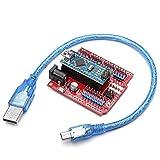 ILS - ATmega328P Arduino Kit de Placa de expansión Compatible Nano V3 + Nano Escudo