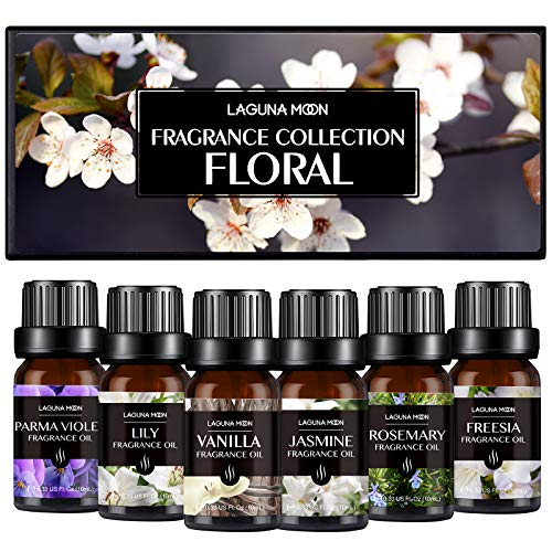 Fragrance Oils, Floral Aromatherapy Oils Gift Set 6 x 10ML Fragrance Oil for Diffuser, Massage, Candles, Soap & Bath Bombs Making -Jasmine, Vanilla, Parma Violet, Freesia, Lily, Rosemary