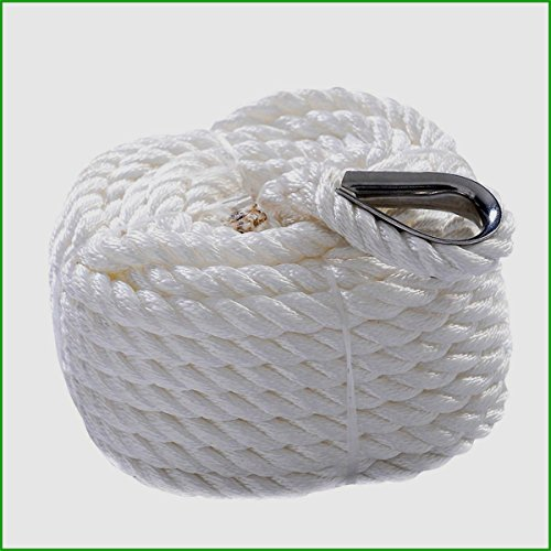 """Nylon Anchor Rope Boat Sailboat Durable And Strong Twisted Three Strand 6600LBS Capacity 1/2""""x100' Automotive Accessories - House Deals"""