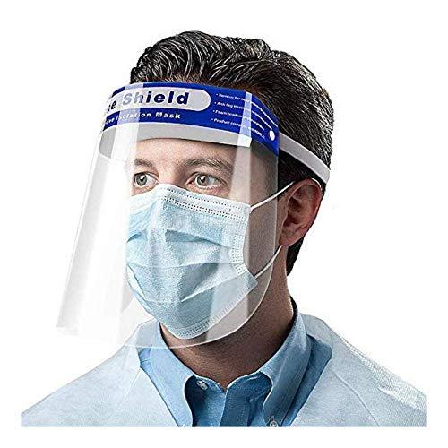 Bestie Visera de Protección Facial Completa, Visera de Plástico Transparente, Ajustable, con Banda Elástica, para Proteger de Saliva y Gotitas (Paquete de 10 Piezas)