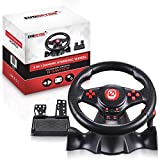 Deluxe Gaming Steering Wheel with Pedals compatible for Nintendo Switch and PS4 - Great for Mario Kart 8, fully supports PC, PS3