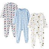 Amomí Pijama Bebé Pelele para Dormir y Jugar, 100% Algodón 1 Pc, Set de 2 Pcs, Set de 3 Pcs (3 Meses, Nube Set 3 Pcs)