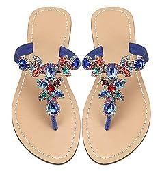 Blue Strap Rhinestone Flat Flip Flop Sandal