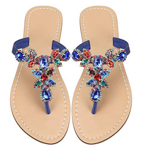 Women s Summer Sandals Rhinestone Jeweled Sandals for Women Bling Jelly Flat Sparkly Sandals Dress Dressy Flip Flops Size 8.5 Blue