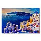 Cuadro de pintura al óleo de la isla de Grecia sobre lienzo con marco para cocina, dormitorio, decoración del hogar, obra de arte clásica moderna 60 x 90 cm
