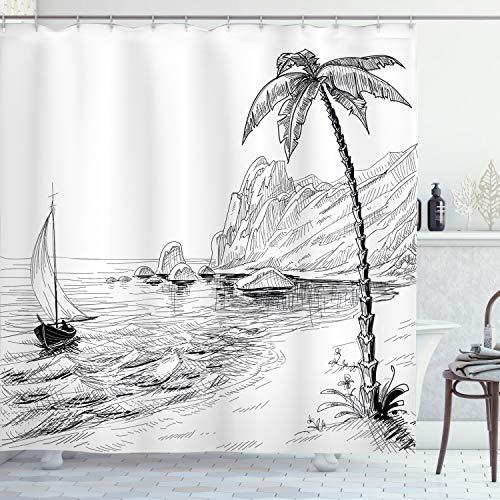 ABAKUHAUS Schwarz & Weiß Duschvorhang, exotischer Urlaub, Waserdichter Stoff mit 12 Haken Set Dekorativer Farbfest Bakterie Resistet, 175 x 220 cm, Schwarz Weiß
