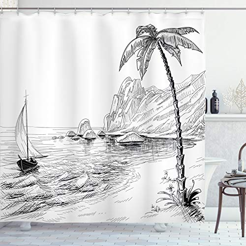 ABAKUHAUS Schwarz & Weiß Duschvorhang, exotischer Urlaub, Waserdichter Stoff mit 12 Haken Set Dekorativer Farbfest Bakterie Resistet, 175 x 200 cm, Schwarz Weiß