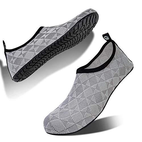 Hombre Mujer Escarpines Zapatillas Agua Zapatos De Agua para Zapatos De Buceo De Playa NatacióN Surf Piscina Zapatos Ligeros De Antideslizante Secado RáPido(ltjh.Gris Claro,42 EU 43 EU)