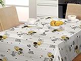 Mantel Hule con Dibujos Desayuno y merienda, Tazas de café y Galletas. Cookies (140_x_140_cm)