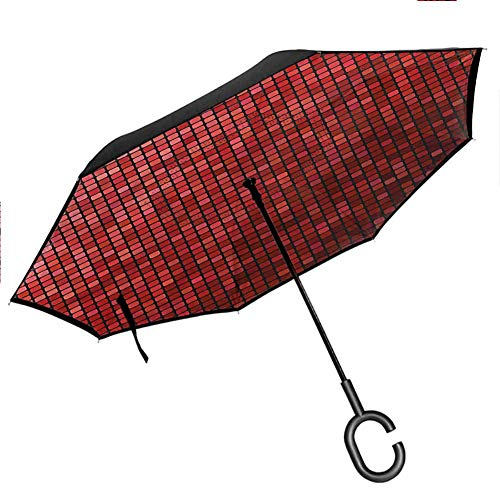 Anyangeight Diamonds Inverted Umbrella Contrast Color Heart Shape Reverse Long Umbrellas, Outdoor Use Anti-UV Windproof Straight Umbrella, 42.5'x31.5'Inch