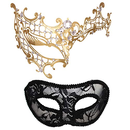 MYMENU Masquerade Mask for Couples Women Metal Rhinestone Venetian Pretty Party Evening Prom Ball Mask Luxury Metal Mask with Free Lace Mask 2 Pack (Half Face Golden)