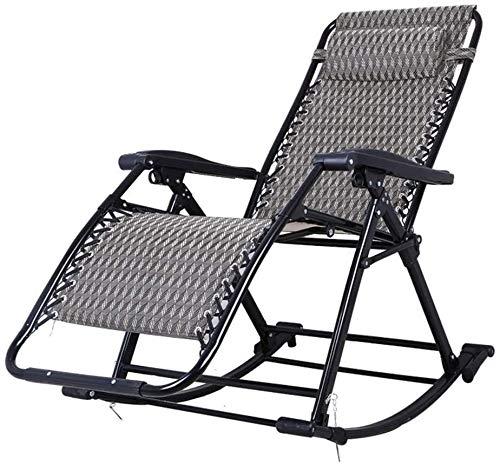 Aoyo mecedora plegable para exteriores, reclinable al aire libre, cubierta reclinable, con gravedad cero, apto para porche, jardín, interior, jardín, camping, silla portátil, soporta 240 kg