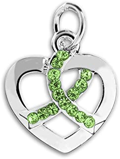 Crystal Lime Green Ribbon Heart Charms (Wholesale Pack - 25 Charms)