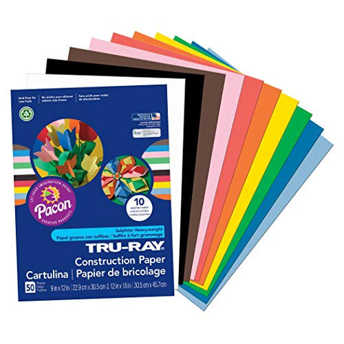 Pacon Tru-Ray Construction Paper, 9' x 12', Assorted, Model:PAC103031