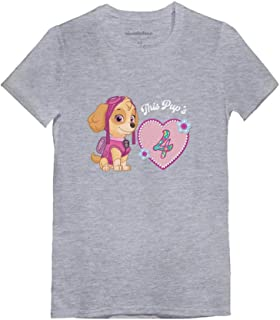 Official Paw Patrol Skye 4th Birthday Toddler/Kids Girls' Fitted T-Shirt