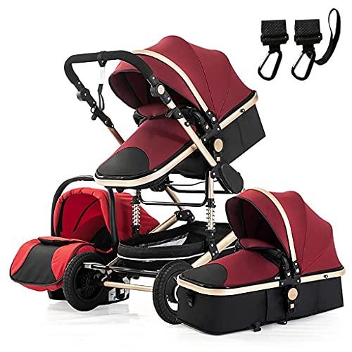 DAGCOT 3 en 1 cochecitos para bebés, cochecitos livianos y cortes, altos paisajes sentados y acostado libremente, diámetro de 26 cm de goma de la PU, para 0-36 meses de carrito de bebé (Color : Red)