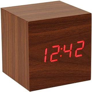 ساعة منبه رقمية، مع شاشة LED إلكترونية خشبية، 3 إنذار ، 2.5 بوصة مكعب صغير الخشب ساعات كهربائية لغرفة النوم، السرير، مكتب