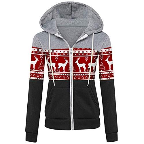 Kenmeko - Sudadera con capucha para mujer, otoño, invierno, informal, deportivo, manga larga con contraste 2Rosa caldo L