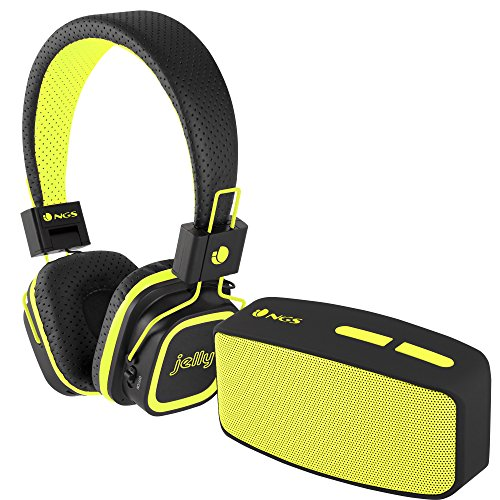 NGS Glitter Yellow - Pack de auriculares y altavoz con Bluetooth