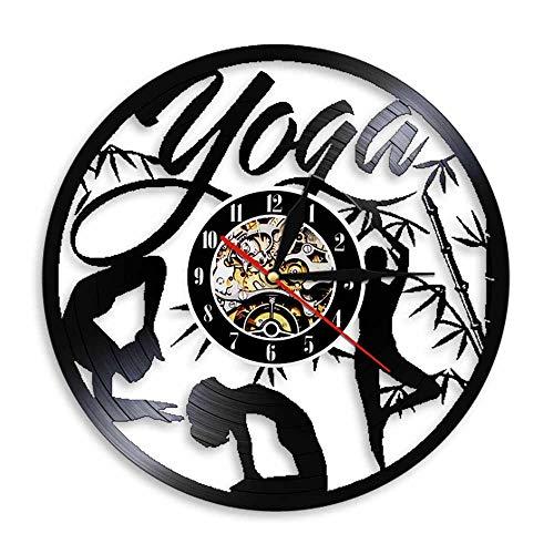 ZZLLL Reloj de Pared con Disco de Vinilo Mandala Yoga Time Mantiene el Arte Mural Adecuado para el Ejercicio físico de Las Mujeres decoración Moderna del hogar Regalos para los Amantes-Sin LED