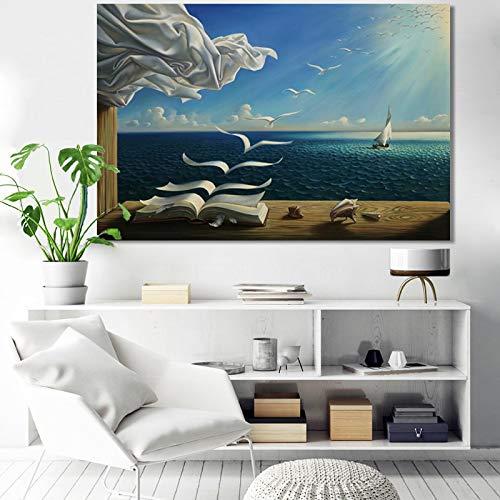 Carteles e impresiones abstractos creativos Arte de la pared Lienzo Pintura Flying Geeses Libro Cuadros decorativos para la sala de estar 21x30cm (8x12in) Sin marco