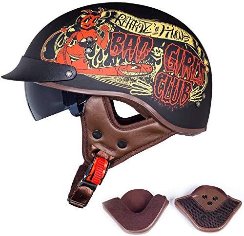 GXYS Halbhelm Motorrad Jet Helm DOT-zertifizierter Cruiser Chopper Skateboard Moped Pilot Helm Mit Offenem Gesicht Eingebaute Schutzbrille Mit Gehörschutz,D-M=(57~58cm)