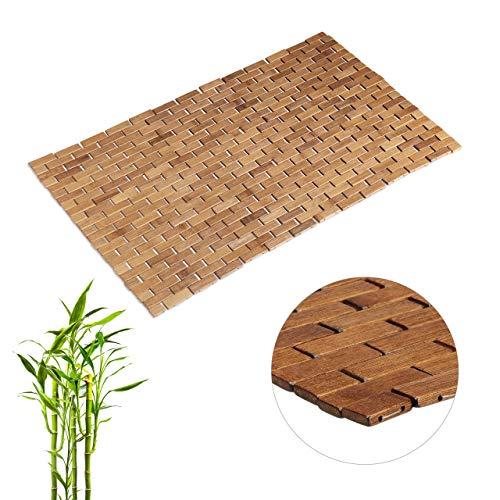 Relaxdays, Natur Bambusmatte, aufrollbar, Gummistopper, hygienisch, feuchtigkeitsbeständig, Fußmatte innen, 50 x 80 cm, Bambus