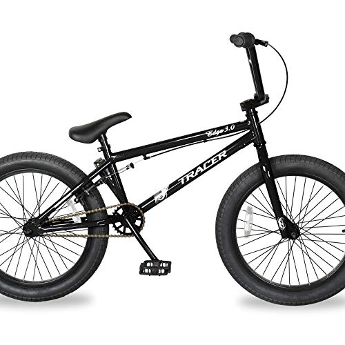 TRACER Edge 3.0 Freestyle BMX Bike for Young boy and Adult Beginner-Level to Advanced Riders Hi-Ten Steel Frame Bicycles Multiple Colors (20' - Black)