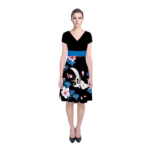 19a6f243ffd CowCow Womens Japanese Style Cherry Blossom Short Sleeve Front Wrap Dress