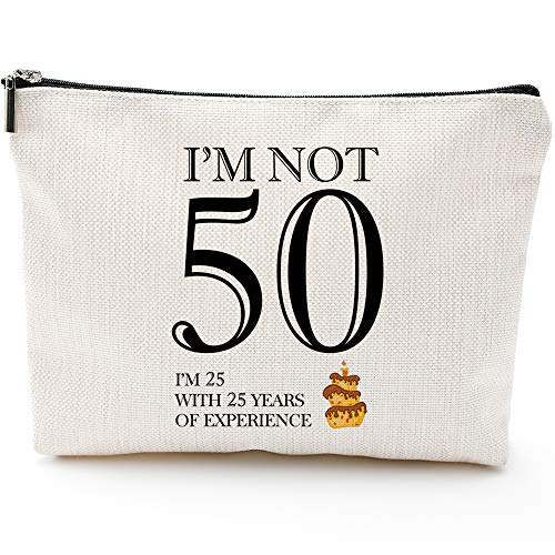 I'm not 50,50th Birthday Gifts for Women,Boss,Wife,Mother,Daughter Makeup Bag, Milestone Birthday Gift for Her, Presents for Turning Fifty and Fabulous