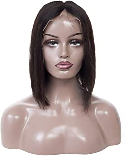 Middle Part Short Straight with No Bangs Full Lace Wig with Real Hair High Temperature Fiber Hair for Women (Color : Blac...