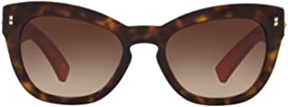 Valentino VA4037 VA/4037 500213 Havana/Red Leather Butterfly Sunglasses 53mm