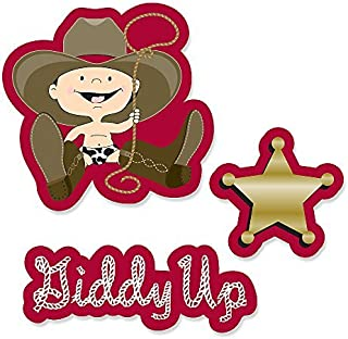 Big Dot of Happiness Little Cowboy - Western DIY Shaped Baby Shower or Birthday Party Cut-Outs - 24 Count