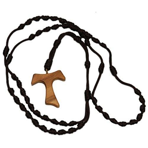 Gebetsschnur Christen - Rosenkranz geknotet - Knotenschnur mit Tau-Kreuz aus Olivenholz - Knoten statt Perlen