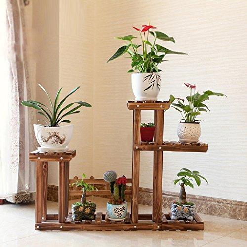 Ensemble de fleurs en bois massif Balcon Ensemble de plantes à plusieurs étages Pots à fleurs Salon Intérieur Plancher pliant L * H: 105 * 74CM (Couleur : Charcoal)