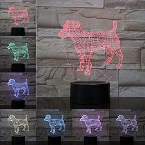 Leuke hond 3D nachtlampje voor kinderen LED illusie lamp met 7 kleuren wijzigen en afstandsbediening - verjaardagen en kerstcadeaus voor kinderen