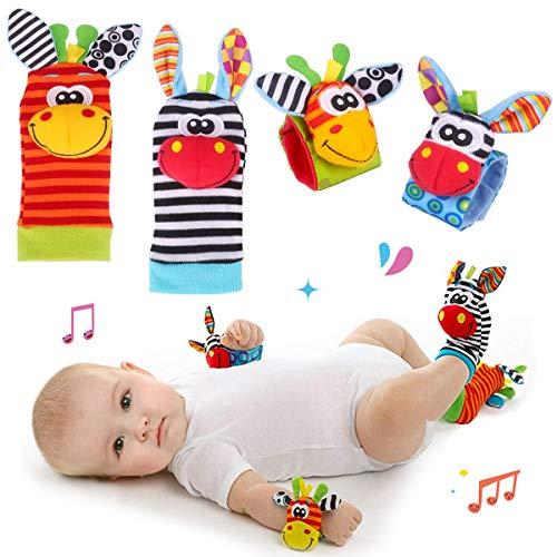 Hmjunboys Baby Rasseln Spielzeug Handgelenk Und Socken, Plüschtiere Entwicklungs-Spielzeug für Neugeborene, Mädchen und Jungen, Baby Geschenk Mehrfarbig (2 Hände Rasseln + 2 Socken Rasseln)