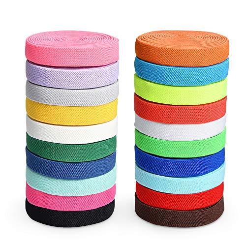 20 Rolls Fold Over Elastic Rope Stretch Foldover Elastics Cord Flat Elastic Band Trim Sewing Ribbon for DIY Crafts Hair Ties Headbands Hair Bows Cuff, 20 Colors (58Yards)