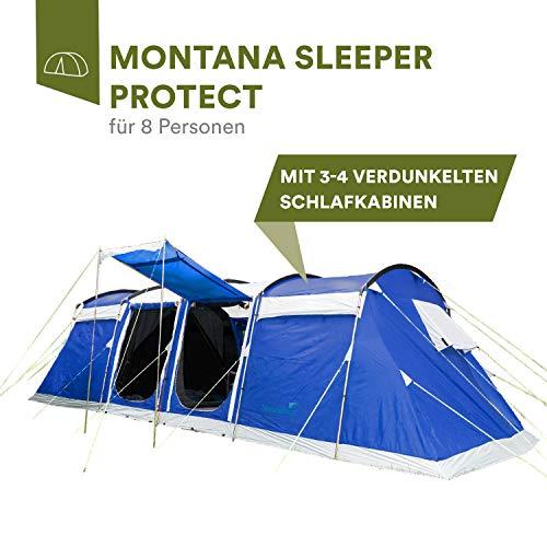 skandika Montana 8 Sleeper 6-8 Personen Familienzelt mit dunklen Schlafkabinen 5.000 mm Wassersäule (blau)