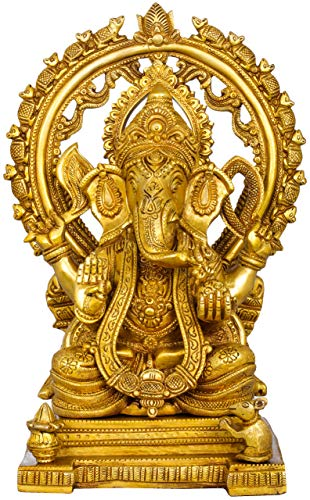Exotic India Thron Ganesha mit Marschratte, gelb, 16,6 x 22,9 x 33,1 cm