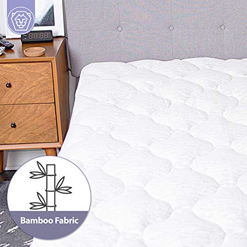 Cooling Bamboo Mattress Pad Cover - Extra Thick Quilted Mattress Topper Pillow Top Matress Cover Over Filled with Hypoallergenic Down Alternative Filling Breathable Mattress Protector (Queen)