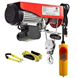 Partsam 1320 lbs Lift Electric Hoist Crane Remote Control Power System, Zinc-Plated Steel Wire Overhead Crane Garage Ceiling Pulley Winch w/Premium Straps (w/Emergency Stop Switch)