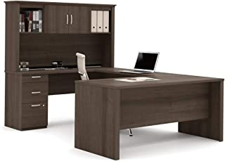 Bestar U-Shaped Desk with Pedestal and Hutch - Logan