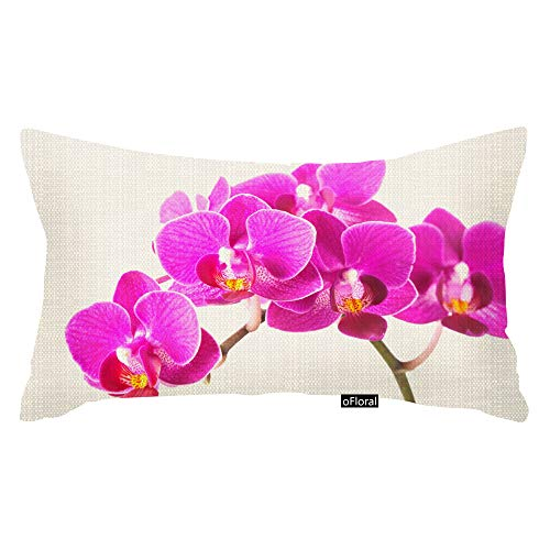 oFloral Pink Purple Dendrobium Orchid Tropical Flower Throw Pillow Case Cushion Cover Home Sofa Decorative 12 X 20 Inch Pillow Cover