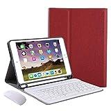 Funda de Teclado para iPad de 7.9'para iPad Mini 5 2019 (5a generación) - Teclado Bluetooth inalámbrico Desmontable/Reposo automático con Soporte para lápiz Incorporado,Rojo