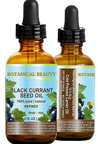 """BLACK CURRANT SEED OIL. 100% Pure / Natural / Undiluted / Refined Cold Pressed Carrier oil. 0.5 Fl.oz. - 15ml. For Skin, Hair, Lip and Nail Care. """"One of the richest in gamma-linolenic acid, Omega 3, 6 and 9 Essential Fatty Acids"""". by Botanical Beauty"""