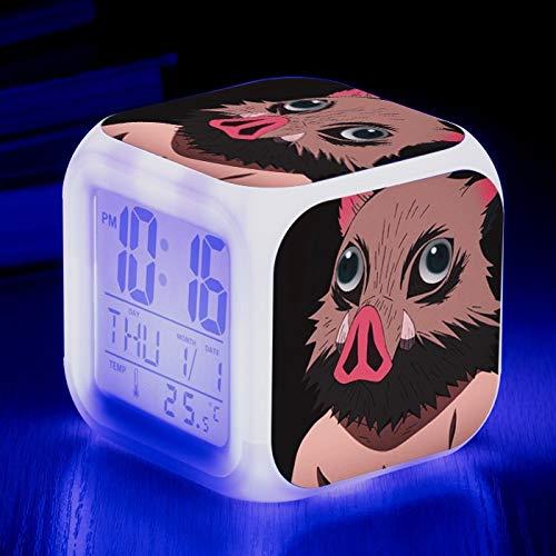Totots Reloj de Alarma de Cambio de Color Colorido para el hashInhibira inosuke/Demonio Slayer, Reloj de Alarma electrónico, Reloj de Alarma Cuadrado Luminoso de Anime, Reloj de Alarma de Calendario